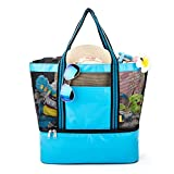 YONOVO Mesh Beach Tote Bag with Cooler,Leak-proof Insulated with Even Bottom(Skyblue)