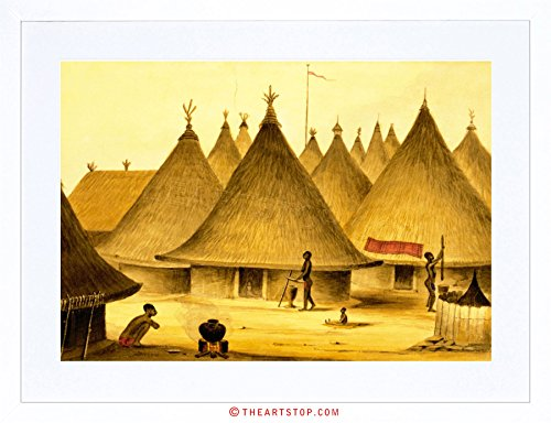 PAINTING LANDSCAPE AFRICAN NATIVE VILLAGE HUTS FRAMED PRINT - Huts African Pictures
