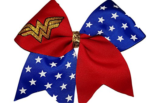 Hero Hair Bow Super - Cheer Bows red and Blue Sparkly Wonder Woman Hair Bow