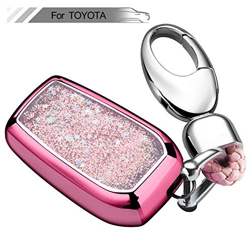 (Key Fob Cover with Glitter Liquid Quicksand,Flowing Bling Sparkle Key Fob Case Fit Keyless Entry of Toyota RAV4 Crown Hyun Prado Camry Prius Corolla New Corol - Pink)