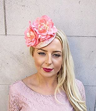 Starcrossed Boutique Rose Gold Peach Pink Sequin Rose Flower Fascinator Hat  Hair Clip Wedding 4015  Amazon.co.uk  Beauty 60df57f46d3