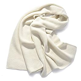 Y-WEIFENG Pure Wool Scarf Knit Shawl Autumn and Winter Monochrome Ladies Warm Scarf Scarf (Color : White, Size : One size)