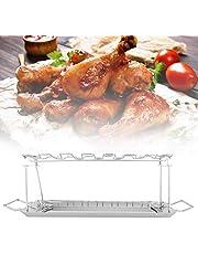 Chicken Rack, Stainless Steel Chicken Holder Grill BBQ Chicken Drumsticks Vegetable Rack Vertical Roaster Stand Drip Pan Hang Up to 12 Chicken Legs Wings