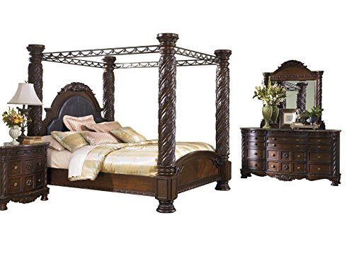 Cal King Poster Bedroom Set (Ashley North Shore 4PC Bedroom Set Cal king Poster Canopy Bed Dresser Mirror One Nightstand in Dark Brown)