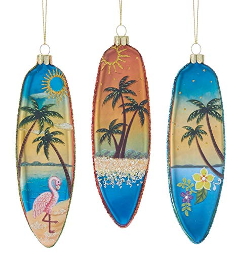 Kurt Adler Flamingo Palm Tree Surfboards Ocean Scenes Ornaments Set of 3