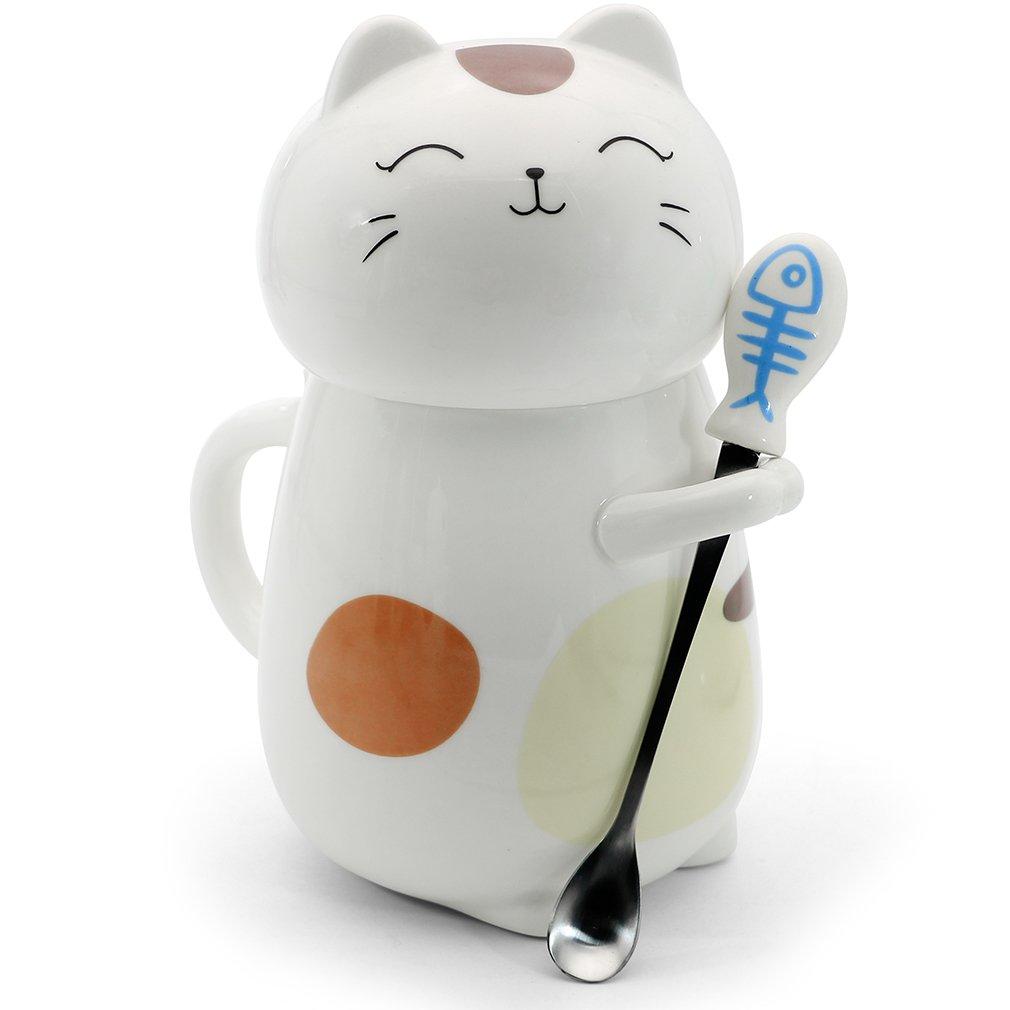 Asmwo Cute 3D Cat Mug Funny Ceramic Coffee Tea Mug with Stirring Spoon and Lid Novelty Birthday Christmas Thanks Giving Gift for Cat Lovers,White 14 oz-C /並/行/輸/入/品