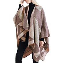 TIFENNY Fashion Shawl for Women Blanket Oversized Tartan Coat Soft Wrap Plaid Cozy Shawl