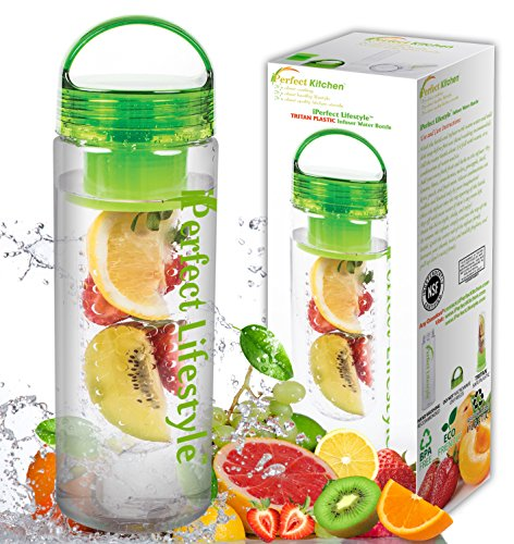 iPerfect Lifestyle Infuser Water Bottle - Made with Commercial Grade Tritan - Recipe Ebook INCLUDED (Duo Costume Ideas)