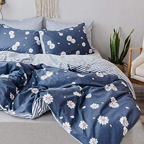 - PinkMemory Twin Duvet Cover Set Girls 100% Cotton Bedding Set Floral Kids Twin XL Duvet Cover Grey-Blue Daisy Print Striped Boys Twin Duvet Cover Reversible 3 Piece Duvet Cover with 2 Pillowcases