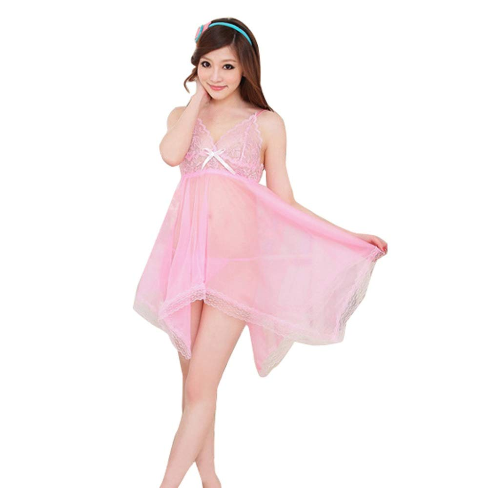Connia Women Sexy Lace Bow Underwear Temptation Solid Babydoll Racy Sleepwear Dress Set (Pink)