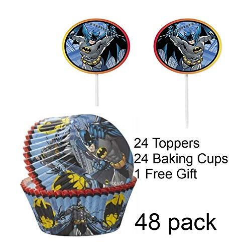 Toy Explorer Party Combo w/24 DC Comics Batman Cupcake Topper & 24 Cupcake Liners with 1 FREE Glow Bracelet -The Toy Explorer -