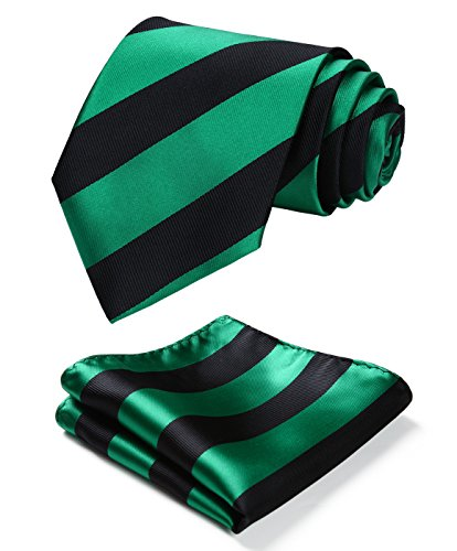 - HISDERN Plaid Tie Handkerchief Woven Classic Stripe Men's Necktie & Pocket Square Set,Green & Black,One Size