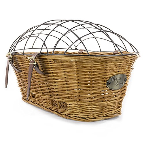 Rear Mount Willow Bicycle Basket with Safety Cage - Hand Crafted By Beach and Dog Co (Myrtle (Willow Bike Baskets)