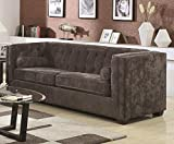 Coaster Home Furnishings Cairns Modern Contemporary Tuxdedo Shelter Arm Tufted Tight Back Stationary Three Seater Sofa with Bolster Accent Pillows - Charcoal Chenille