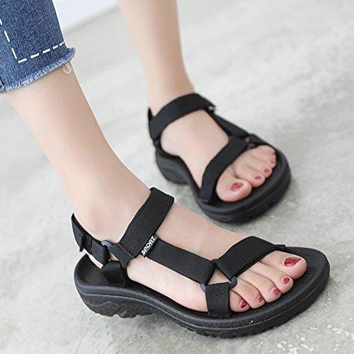GAOLIM Sandalias De Verano Mujer Versátil Base Plana Y Minimalista Con Estudiantes Plana Bizcocho De Velcro Zapatos Gruesos Negro