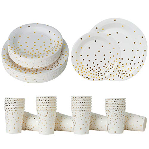 Gold Party Supplies Paper Plates and Cups Serves 50 Guests;Gold Confetti Dinnerware 50 Dinner Plates 50 Dessert Plates and 50 9oz Cups for Baby Shower Birthday Bridal Shower Wedding Graduation