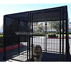 85/% Sunblock Shade Top and Side Coverage Not The Kennel Knitted Shade Cloth with Grommets Green, WindscreenSupplyCo 6ft x 12ft Dog Kennel Shade Covers