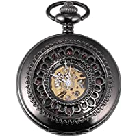 Carrie Hughes Vintage Black Gothic Steampunk Skeleton Mechanical Pocket Watch with Chain Gifts CH392