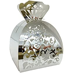 WOMHOPE® 50 Pcs - Jewelry Lock Vine Hollow Laser Cut Roses Flowers Wedding Candy Box Chocolate Candy Wrappers Party Favors for Bridal Shower,Wedding,Party,Birthday Gift (Silver (Reflect light))