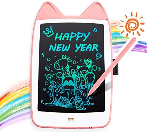 BUEMODRA LCD Writing Tablet 8.5 Inch Colorful,Newest Erasable Reusable Scribble Doodle Board for Kids,Pink Cat Drawing Tablets for 2-7 Years Old Little Girls Kids Learning Gift
