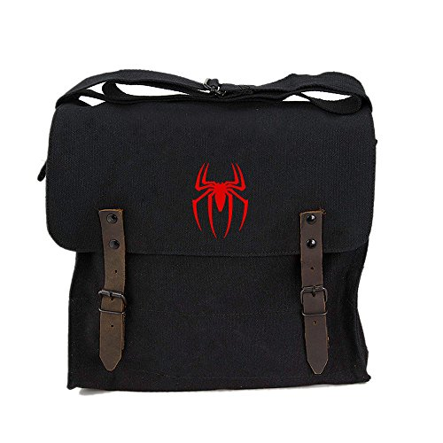Spiderman Symbol Army Heavyweight Canvas Medic Shoulder Bag in Black & Red