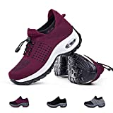 Women's Walking Shoes Sock Sneakers - Mesh Slip On Air Cushion Lady Girls Modern Jazz Dance Easy Shoes Platform Loafers Wine Red,8