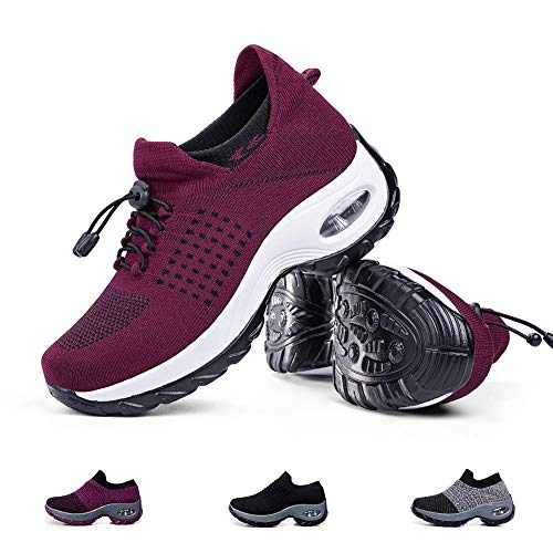 Women's Walking Shoes Sock Sneakers - Mesh Slip On Air Cushion Lady Girls Modern Jazz Dance Easy Shoes Platform Loafers Wine Red,7 (Air Mesh Fabric)