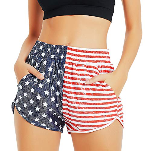 Women 4th July Spandex Shorts Patriotic USA Flag Hot Pants Metallic Outfits -