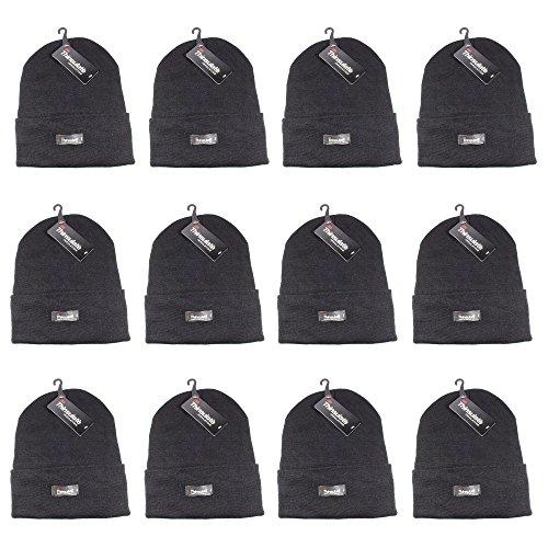 Gelante 3M Thinsulate Women Men Knitted Thermal Winter Cap Casual Beanies-Wholesale Lot 12 Packs-Darkgrey