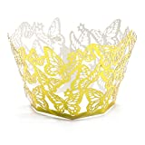 HUELE 50PCs Butterfly Pattern Hollow Cupcake Wrappers Paper Cupcake Liners Baking Cup Muffin Case Trays for Wedding Party Birthday Holiday Decoration