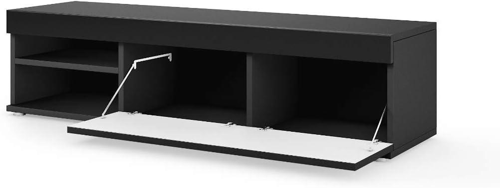 E-com AVA Meuble TV Bois 140 cm Noir