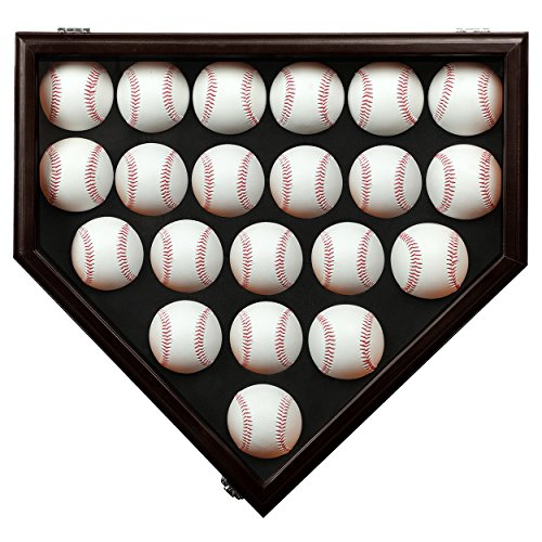 Mounting Plate Assembly - TIANNBU 21 Baseball Display Case Wall Cabinet Holder Acrylic Front Shadow Box with UV Protection Plate Shaped Ink Red