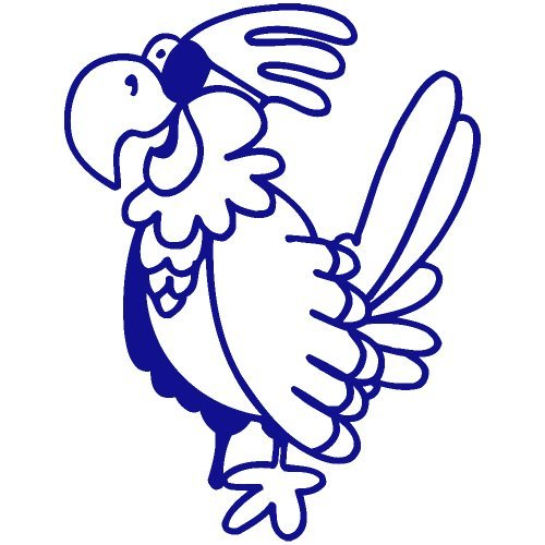 Set of 3 - Pirate Parrot Decal Sticker Color: Blue- Peel and Stick Vinyl Sticker ()