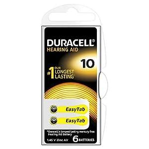 Duracell - Pila auditiva Easy Tab - 10 Amarilla pack de 6