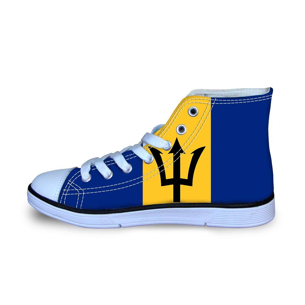 Canvas High Top Sneaker Casual Skate Shoe Boys Girls Trident Barbados Flag
