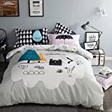 TheFit Paisley Textile Bedding for Teenager Girls and Boy U714 Multi Color and Black Cat Duvet Cover Set 100% Cotton, Twin Queen King Set, 3-4 Pieces (Queen)