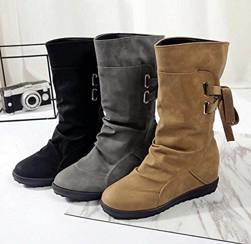 Botas Martin Eu 3cm 43 a Slouch punta Dulces Gray Tamaño ocasionales pierna Boots Boots Pisos redonda media correas Slouch Mujeres 35 Zapatos WI4nqFwI