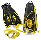 Cressi Palau Long Mask Fin Snorkel Set, Brisbane Yellow, Small/Medium