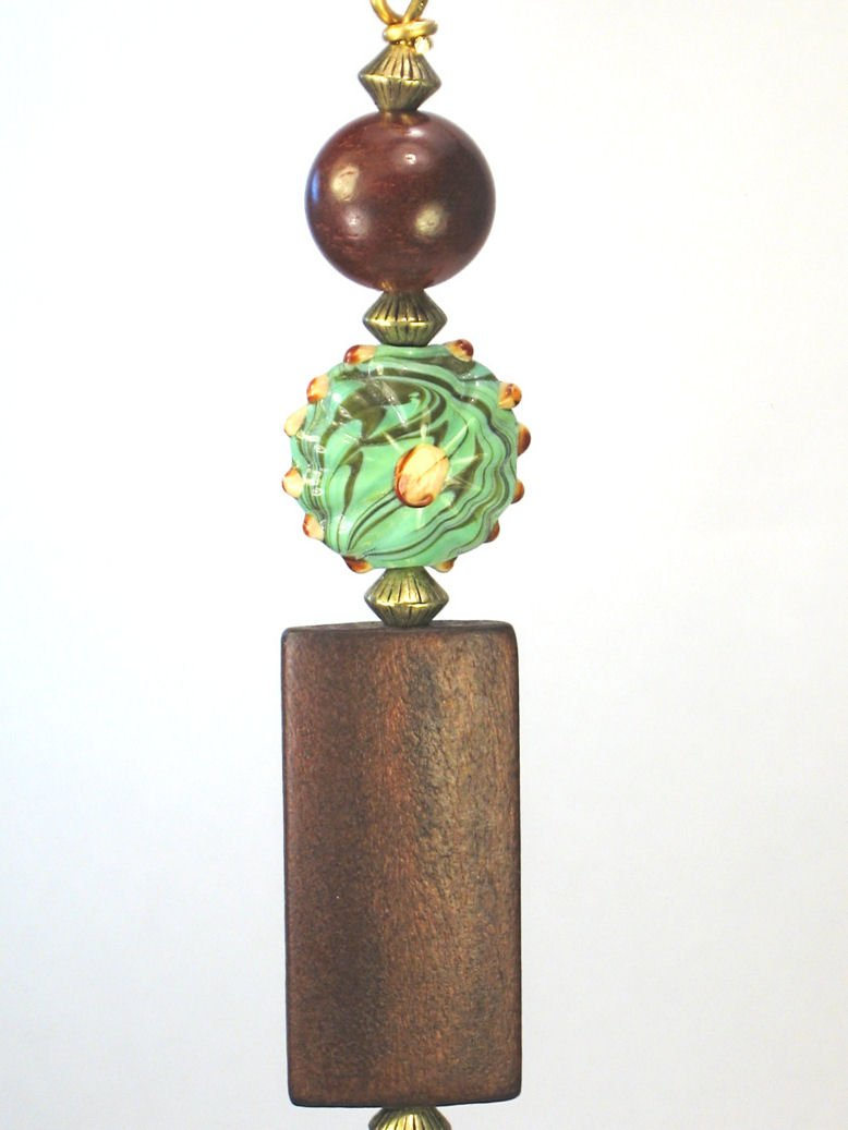 Brass Finish Rich Dark Brown Wood and Artisan Lamp work Glass Moss Green Fluted Ceiling Fan Pull Chain -Light Pull - Lamp/Light Pull