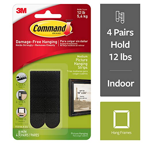 Command Truck - Command Picture Hanging Strips, Decorate Damage-Free, 4 pairs (8 strips), Black (17201BLK-ES)