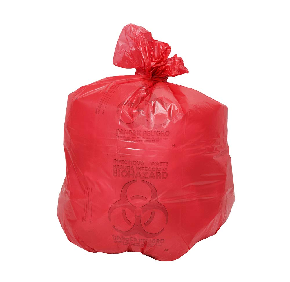 20-30 Gallon Red Medical Waste Trash Bags - 1.3 Mil - 200/CS
