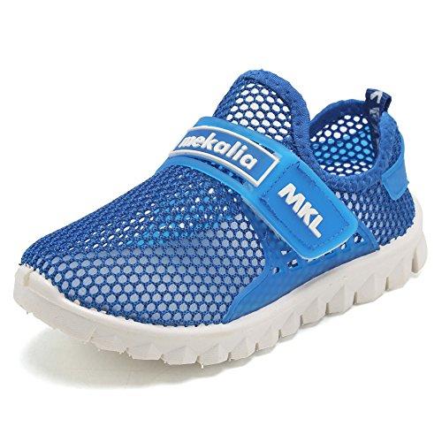 EQUICK Kid's Breathable Mesh Shoes Slip-on Sneakers for Running Pool Beach (Toddler/Little Kid) EKS276 Blue 32