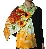"100% Luxurious Charmeuse Silk Long Scarf-Van Gogh's ""Vase With Fifteen Sunflowers"""