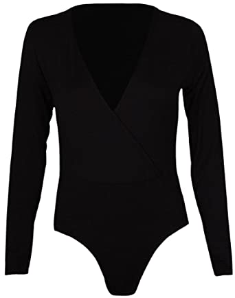 2ae7c349be COMMENCER Womens Long Sleeve Cross Over Wrap Stretch Bodysuit Leotard Top  at Amazon Women s Clothing store