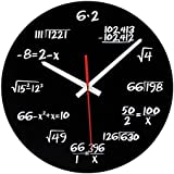 Math Clock, Timelike Unique Wall Clock Modern Design Novelty Maths Equation Clock - Each Hour Marked By a Simple Math Equation (Black)
