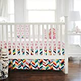New Arrivals 2 Piece Crib Bed Set, Uptown in Hot Pink