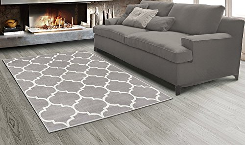 Sweet Home Stores King Collection Moroccan Trellis Design Area Rug, 5'3 X 7'0, Grey