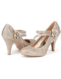 ARPEL/BERRY Women's Formal Evening Dance Rhinestones Classic Low Heel Pumps Shoes
