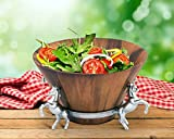 Arthur Court Designs Aluminum Diameter: 12 inch Long Tal 7''Horse Wood Tall Salad Bowl