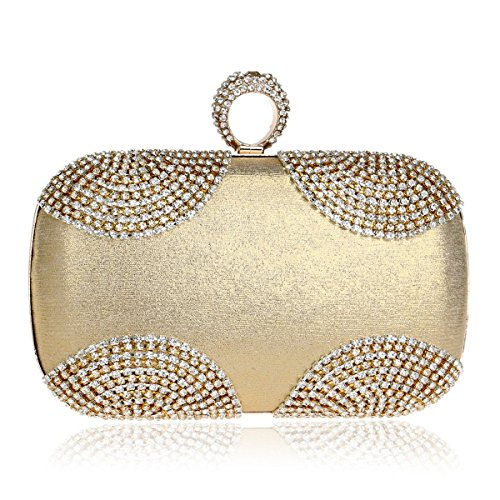 bag ladies Silver banquet evening bag bag American evening Fly Silver European evening and encrusted Diamond bag with dress Gold Gold Color qFTx1pO